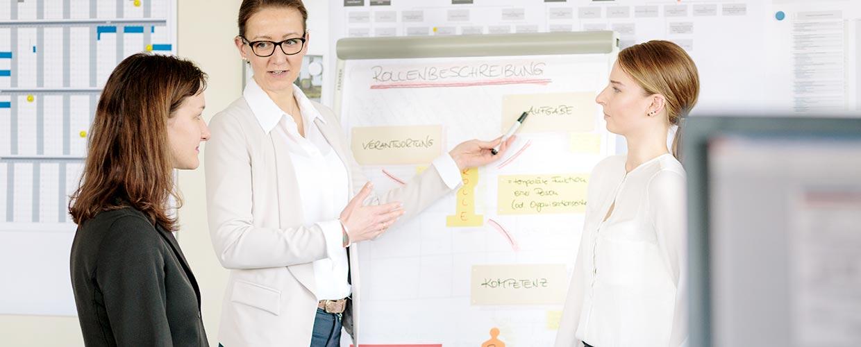Managerin erklärt zwei Kolleginnen die Notizen auf einem Flipchart