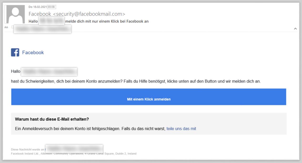 Screenshot einer Phishing-Mail